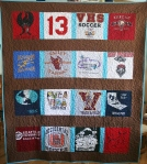 Brown T Shirt Quilt (front)