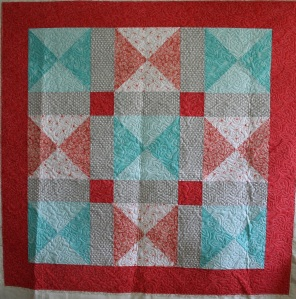 Coral & Teal Baby Quilt
