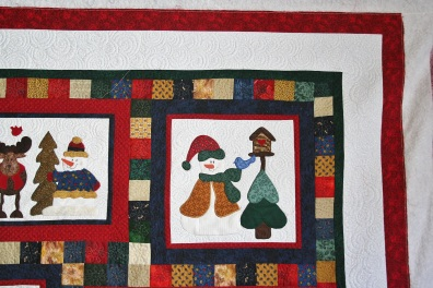 Applique Christmas Snowmen (close up)