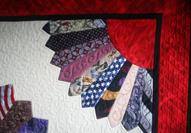 Sooner Necktie Quilt (close up)