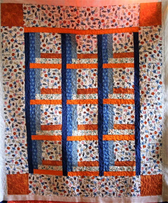 Baseball Construction Quilt (front)