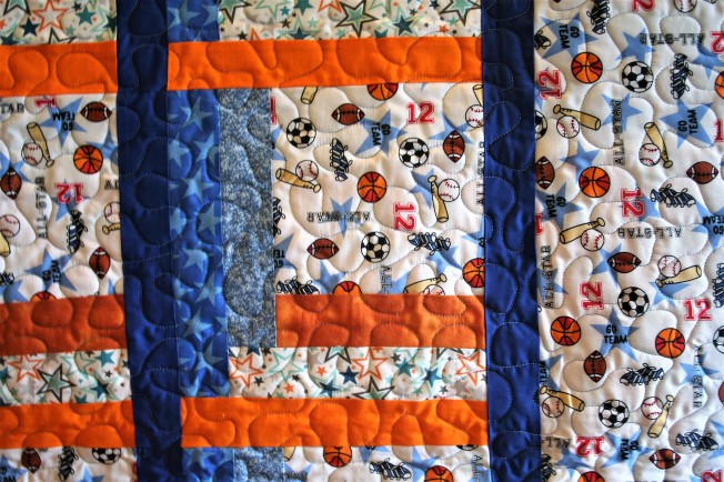 Baseball Construction Quilt (close up)