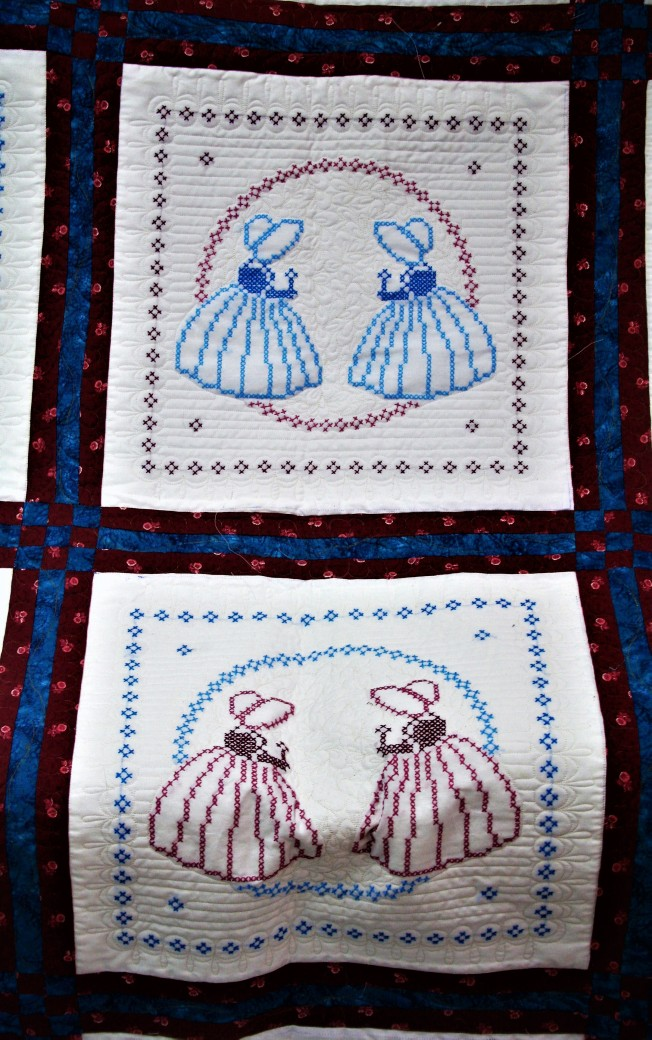 Cross Stitch Sunbonnet Sue (close up)