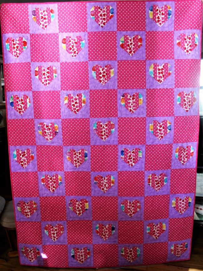 Pink Hearts Graduation Quilt (front)