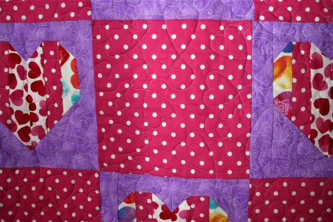 Pink Hearts Graduation Quilt (close up)