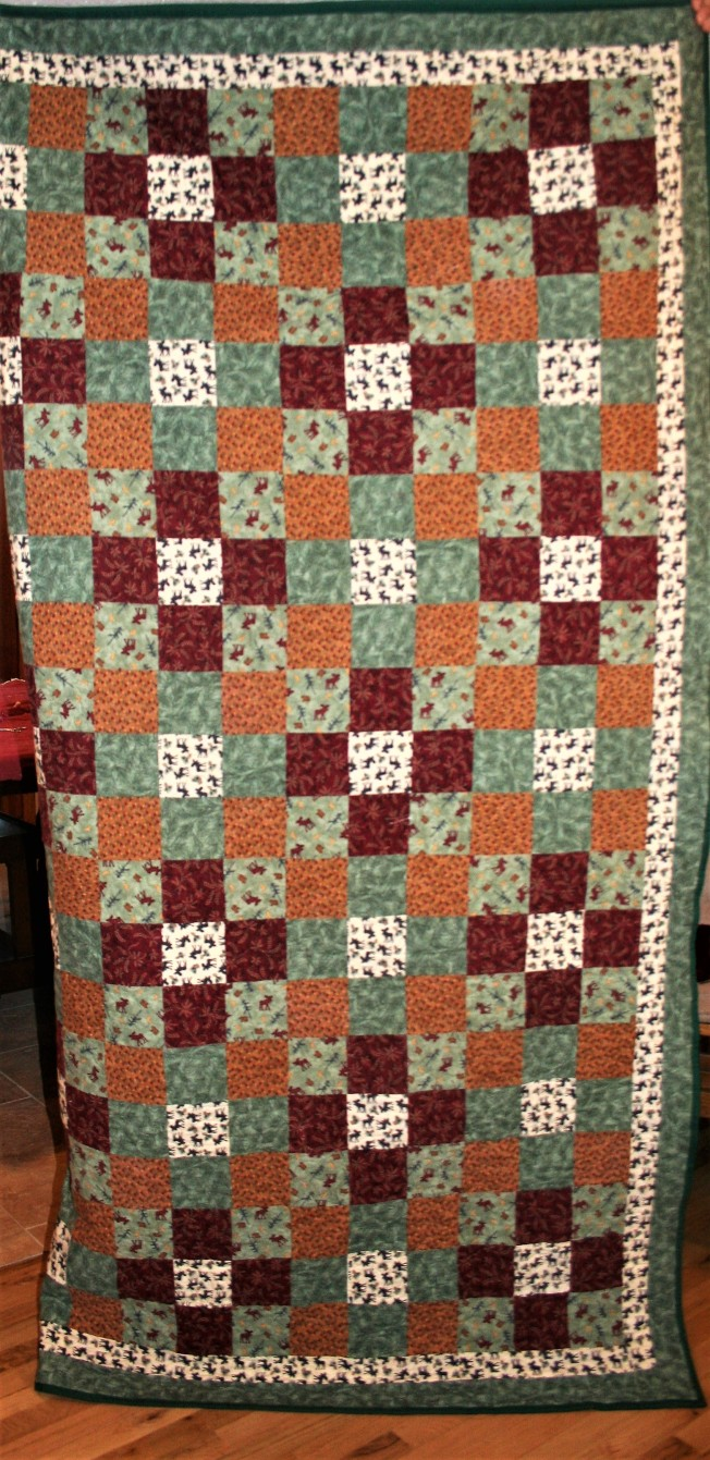 Flannel Green Woodsy Quilt (front)