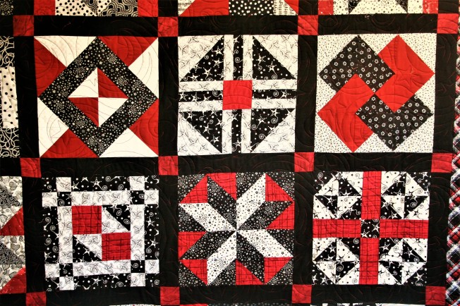 Mom's Red and Black Quilt (close up)