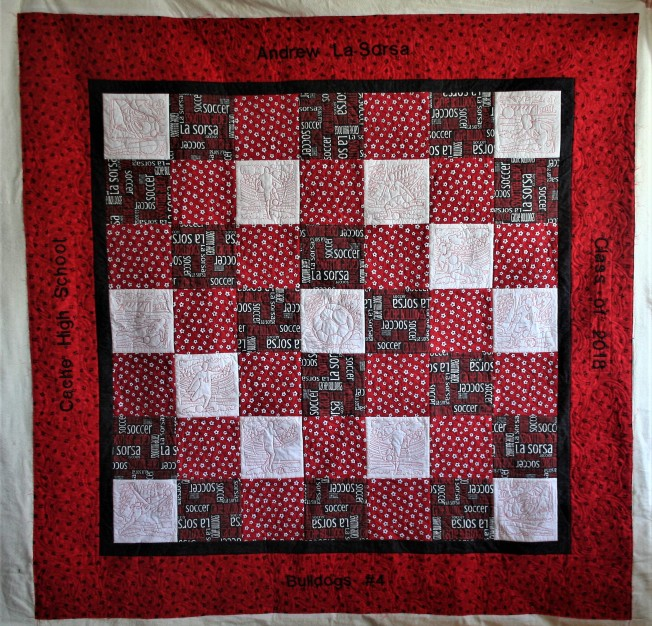 Red Soccer Quilt (front)