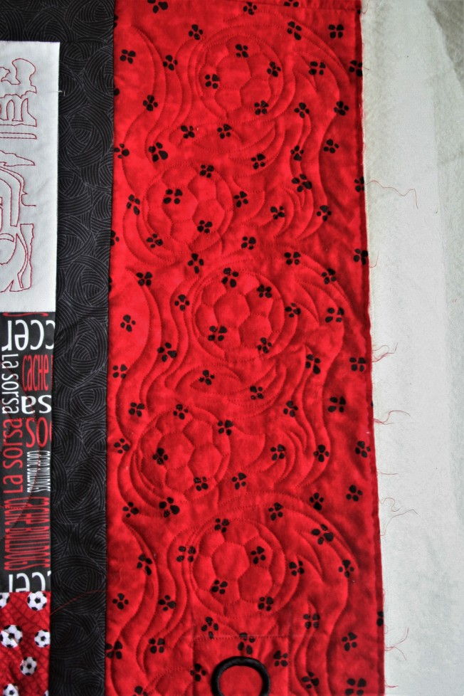 Red Soccer Quilt (close up 2)