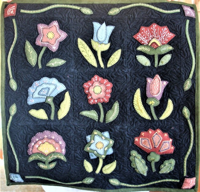 Dark Gray Wool Flowers (front)