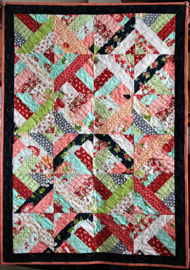 Cherry Blue Baby Quilt (front)