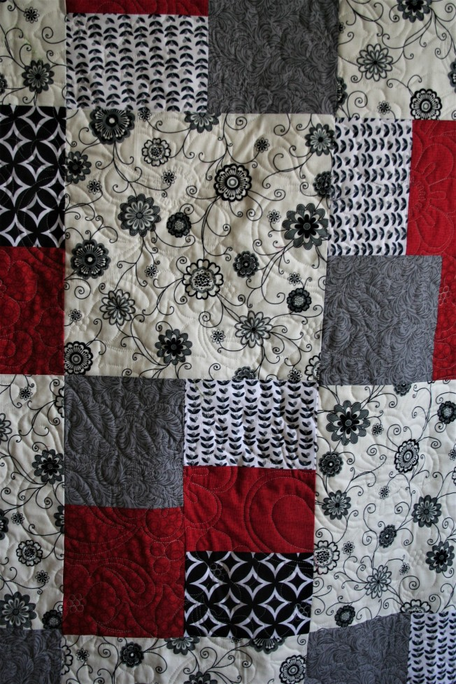 Red and Gray Grad Quilt (close up)