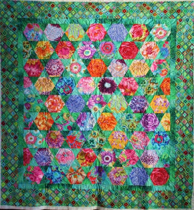 Green Hexi Kaffe Quilt (front)