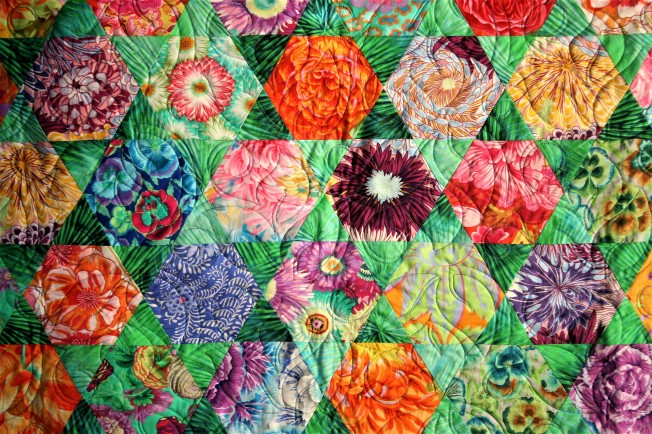 Green Hexi Kaffe Quilt (close up)