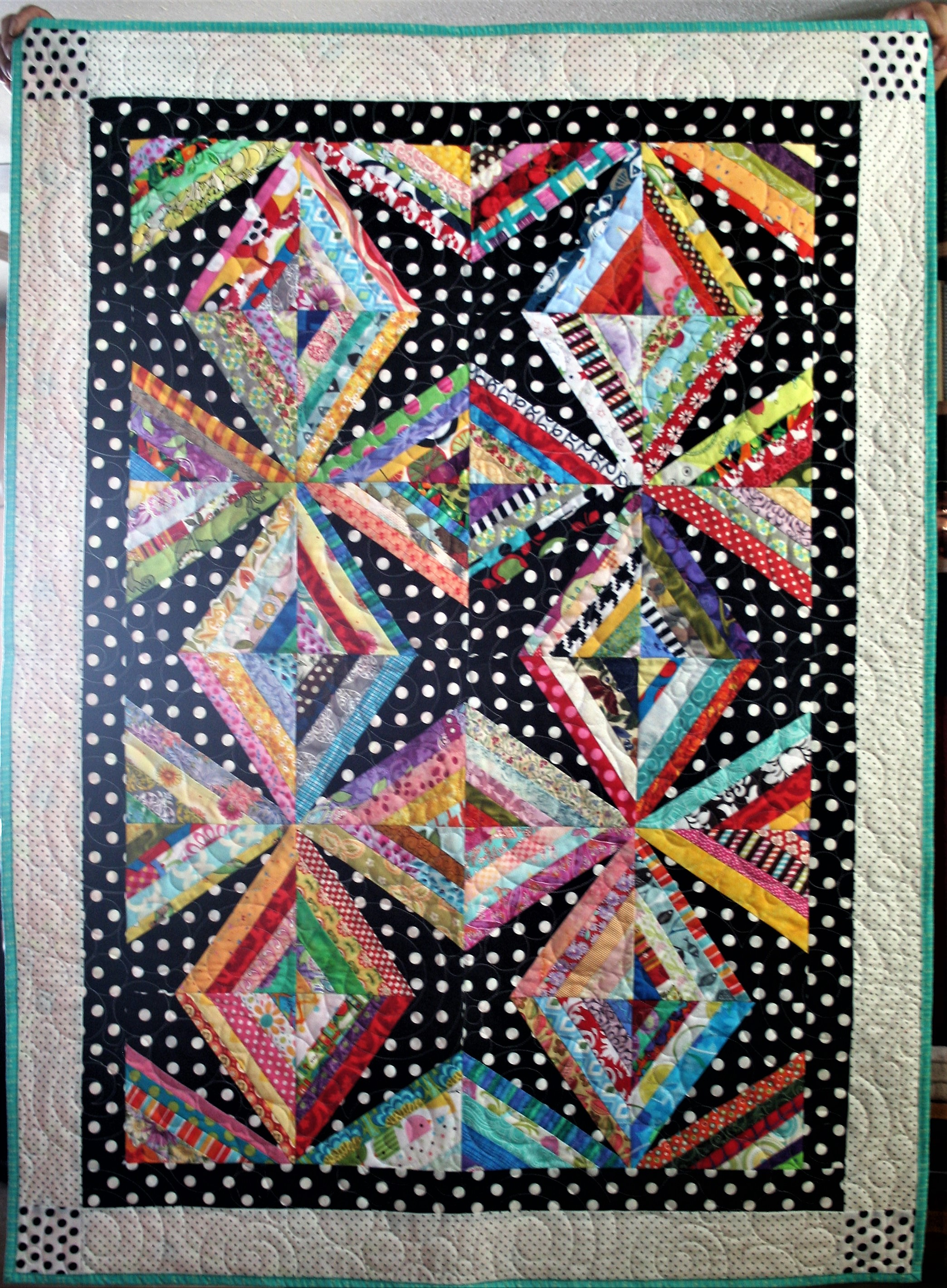 Spiral and Bubbles String Quilt (front)