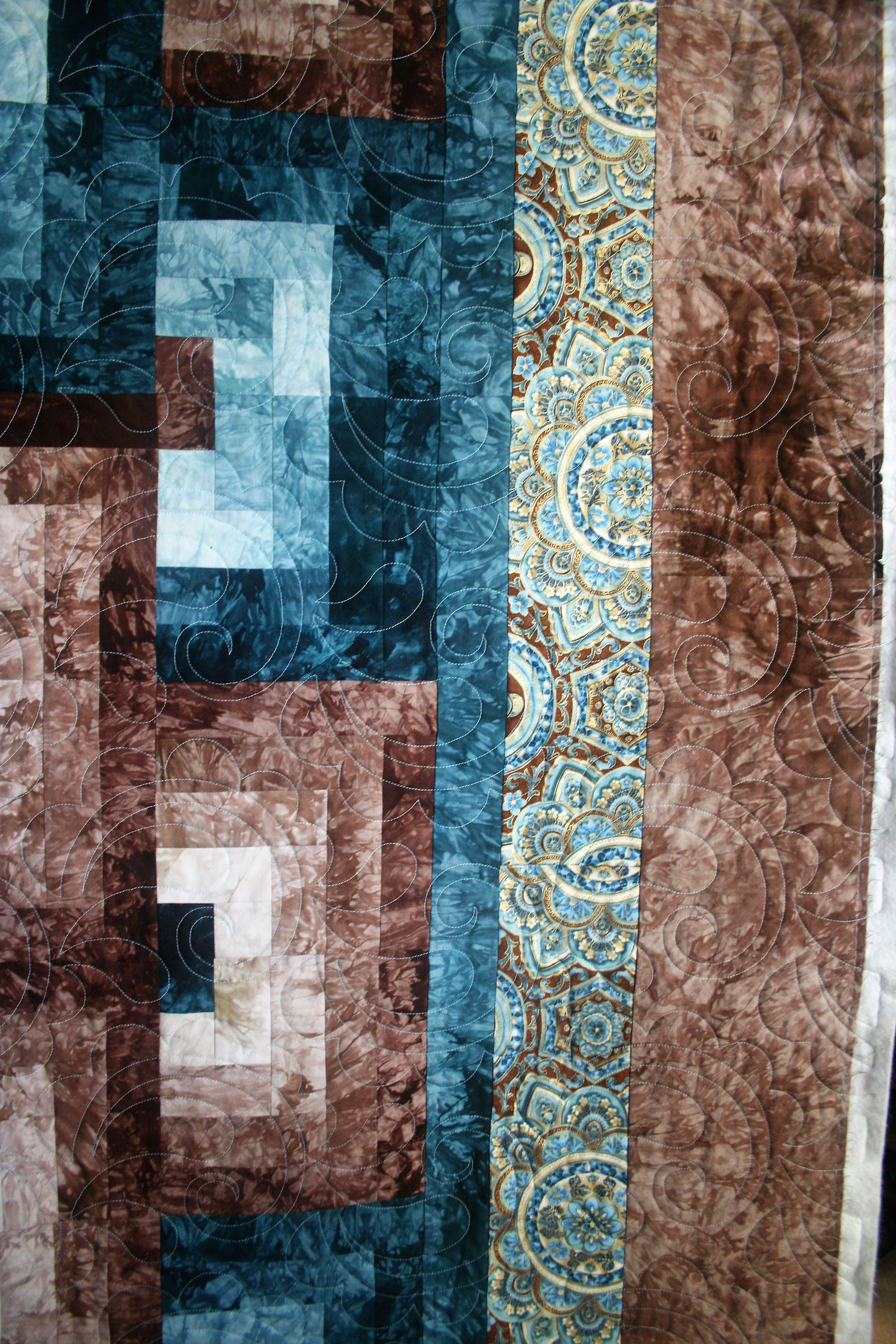 Turquoise and Brown Paisley (border)