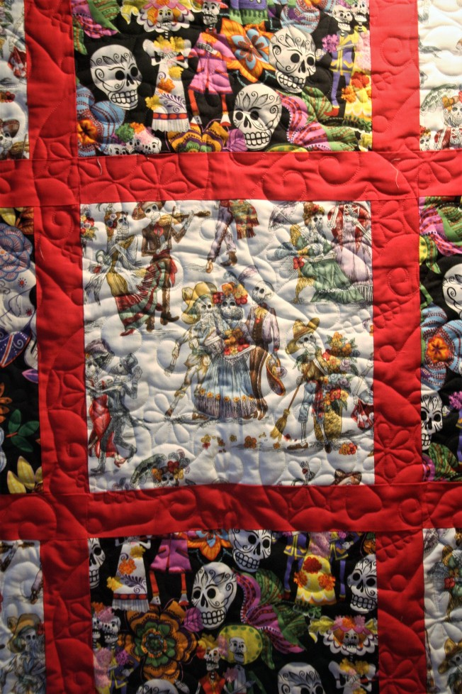 Scrappy Day of the Dead Quilt (close up)