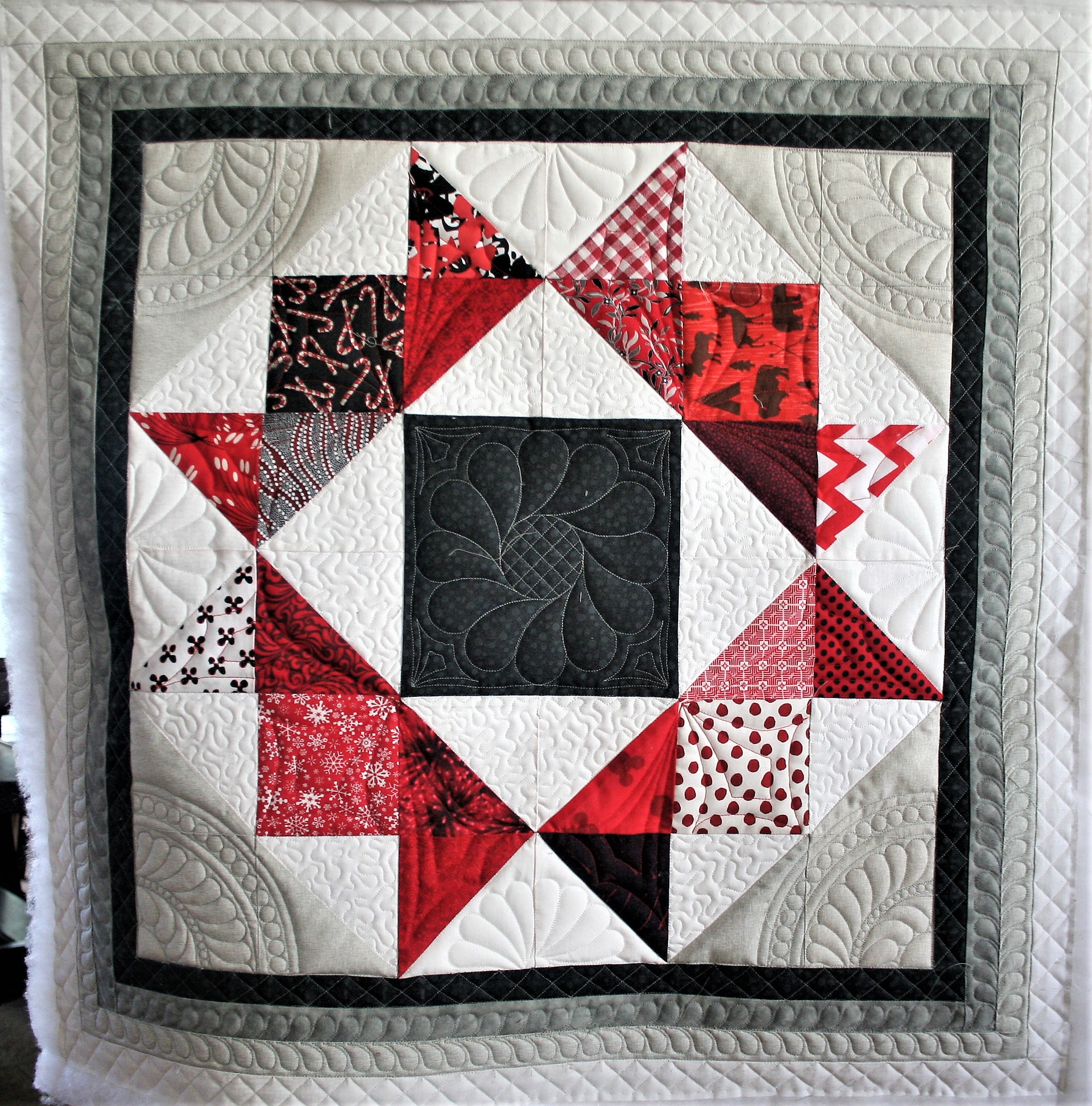 Christmas Red & Gray (pillow sham front)