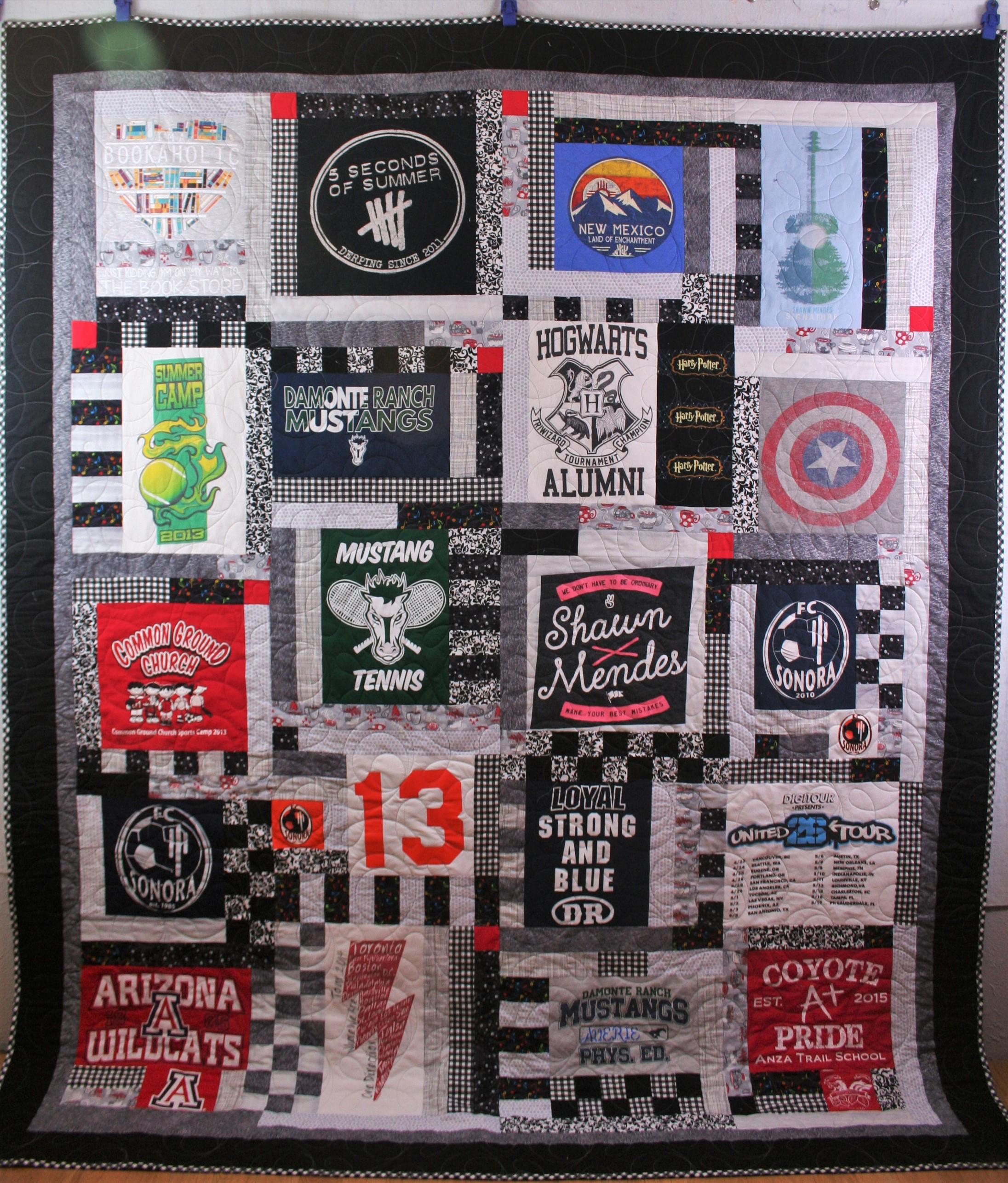 Checkered T Shirt Quilt (front)