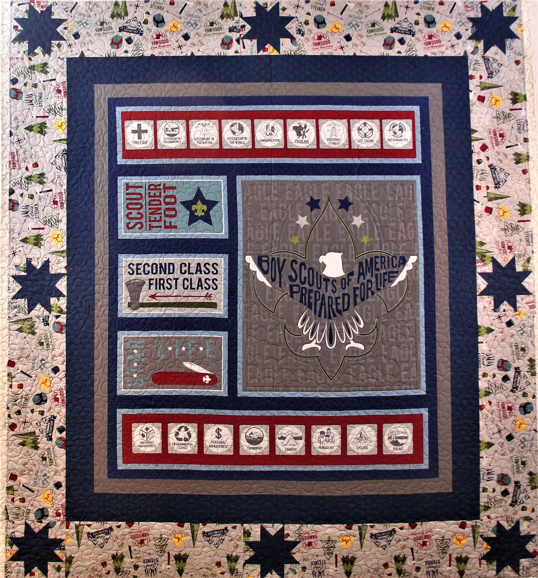 Boy Scouts and Stars Quilt (front)