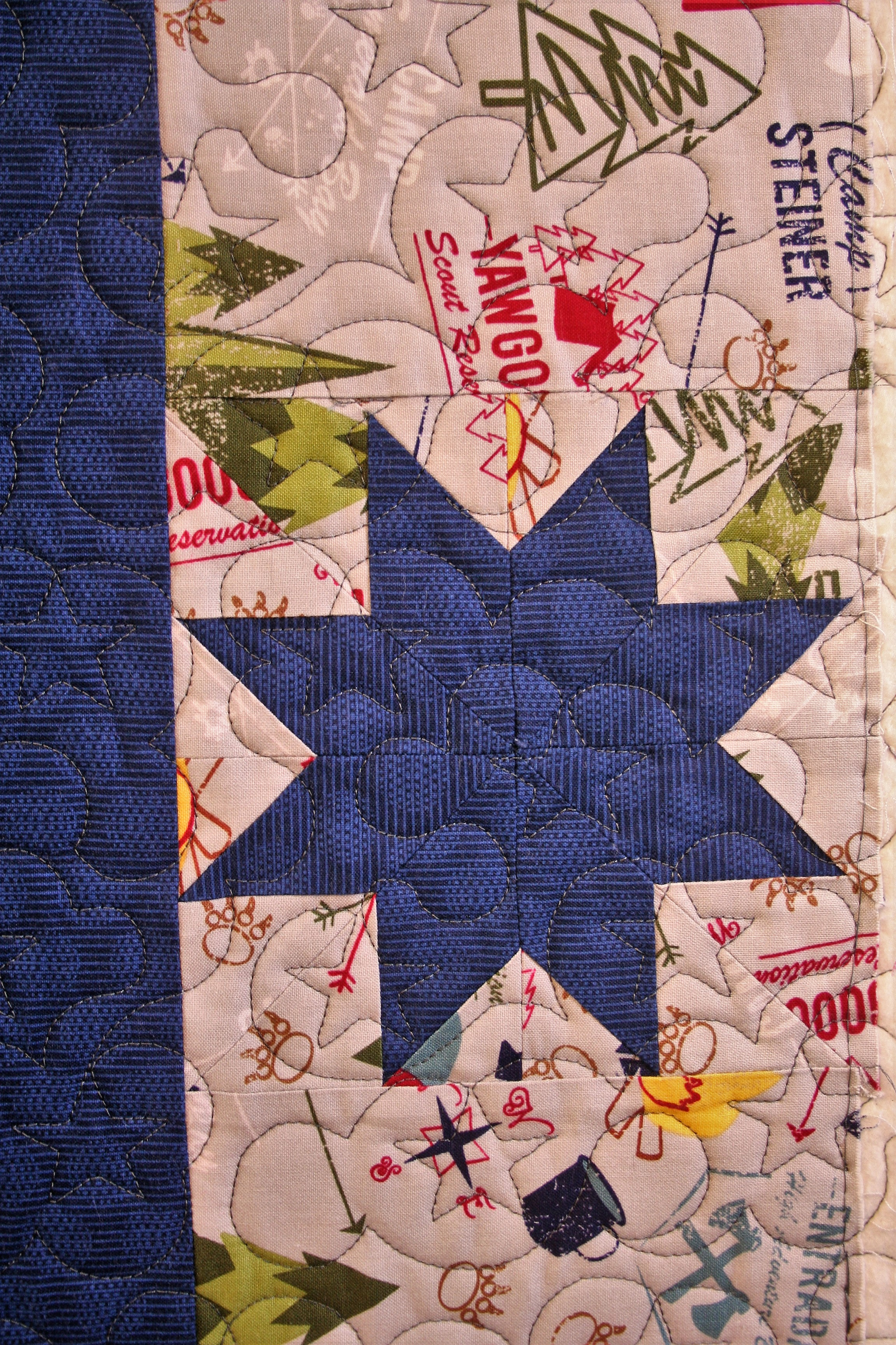 Boy Scouts and Stars Quilt (close up 2)
