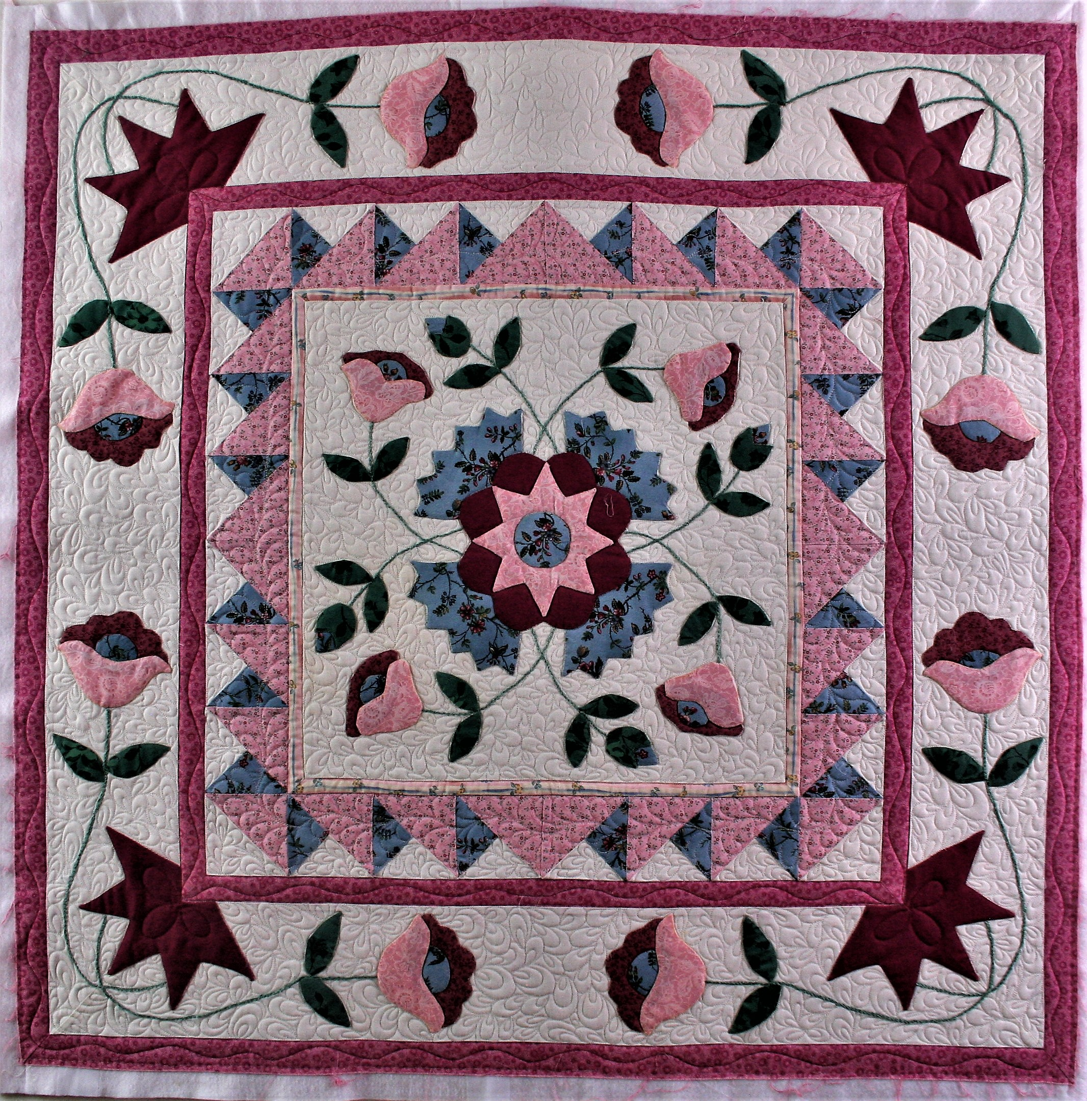 Pink Applique Wall Hanging (front)