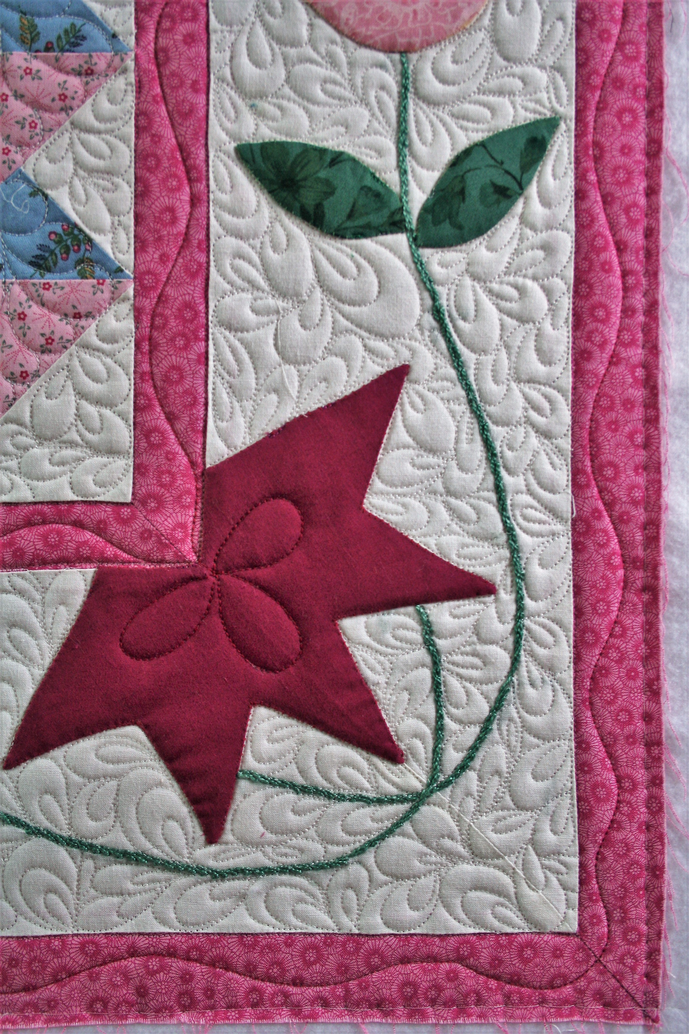 Pink Applique Wall Hanging (close up 1)