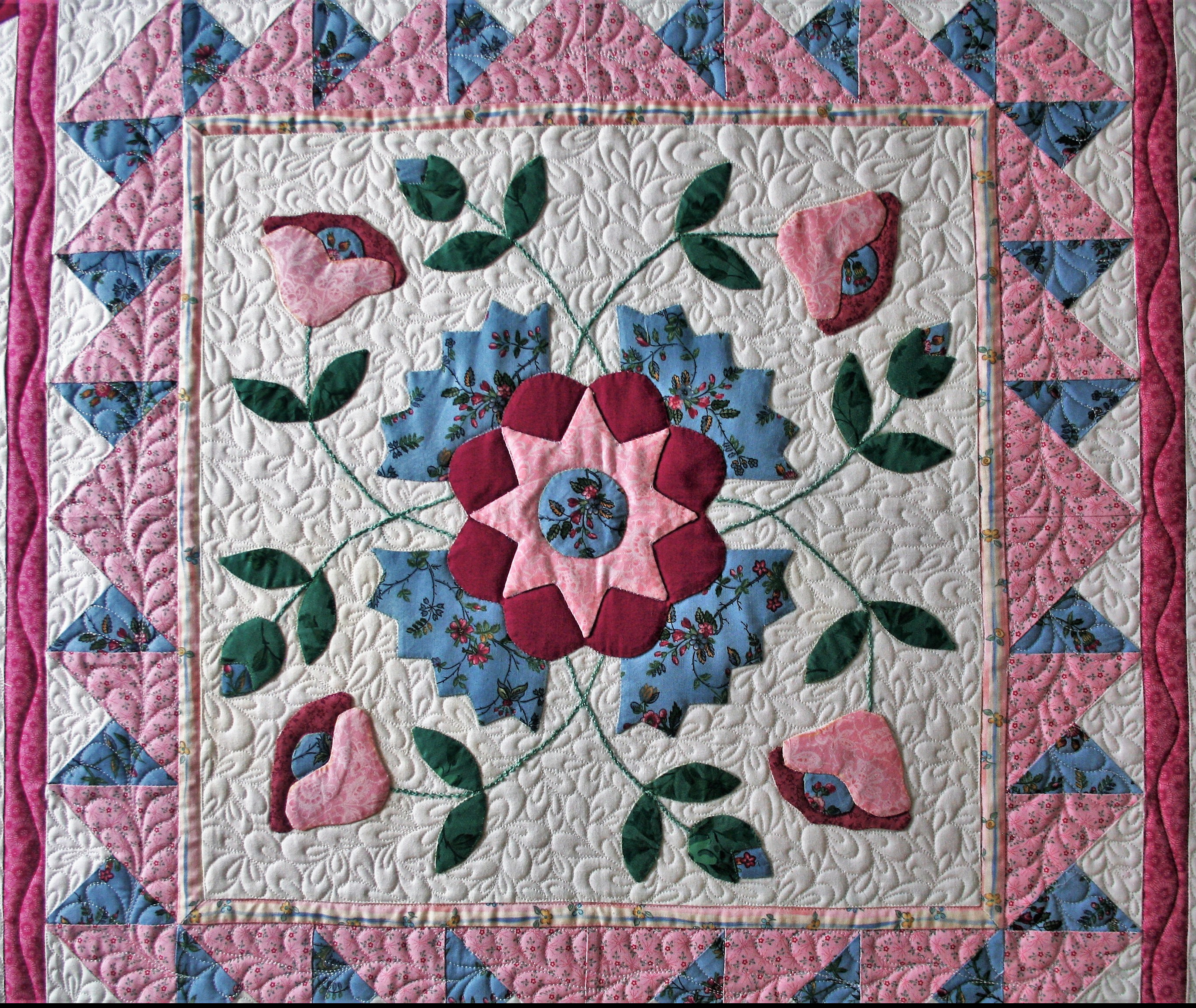 Pink Applique Wall Hanging (center)