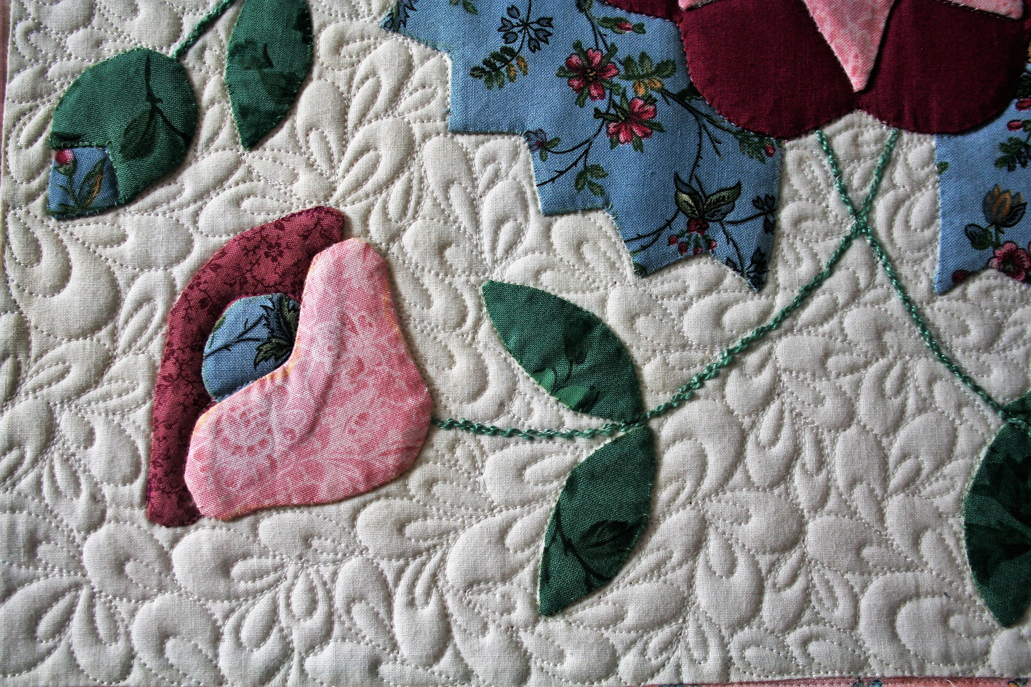 Pink Applique Wall Hanging (close up 2)